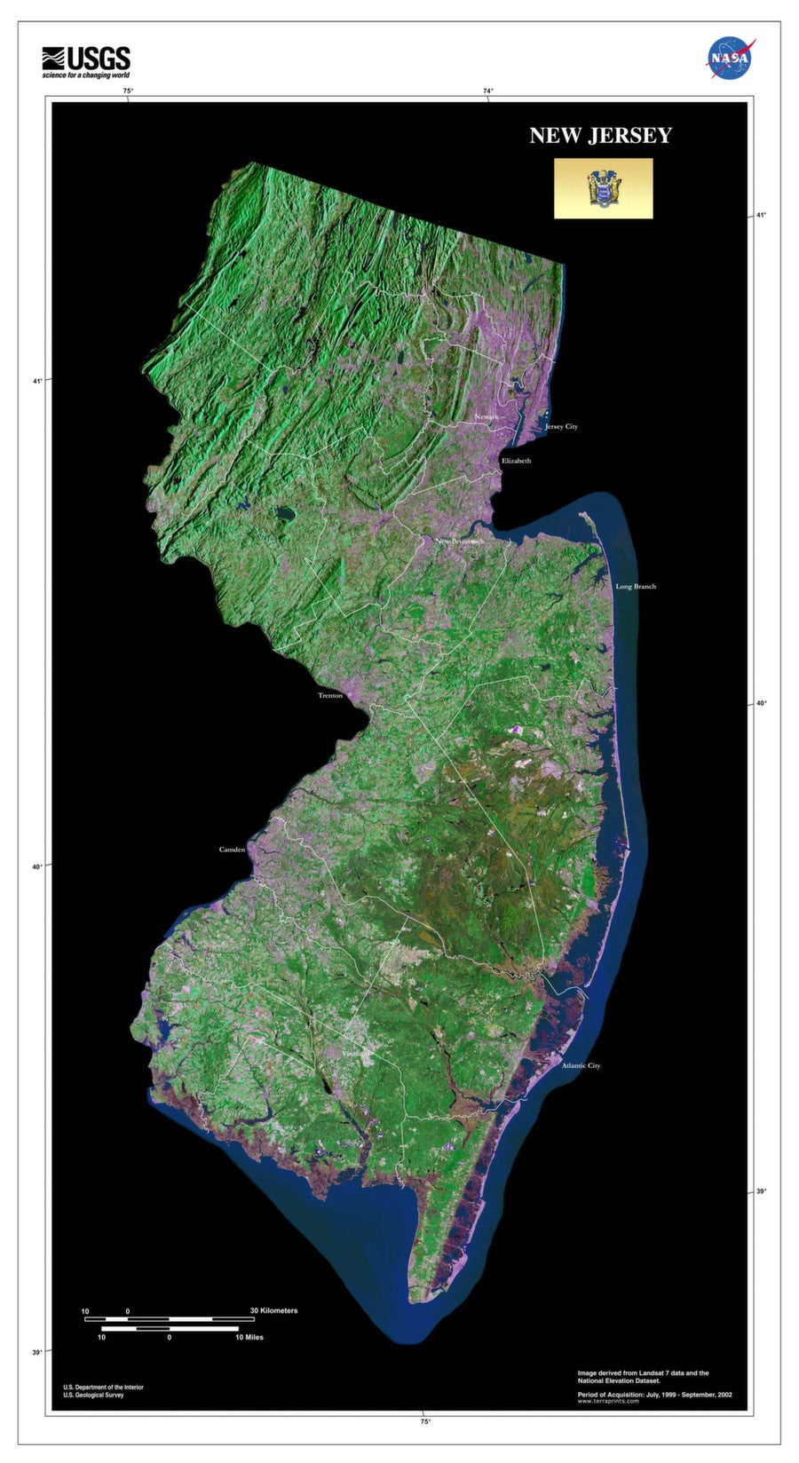 New Jersey Satellite Imagery State Map Poster by TerraPrints.com. Available in multiple sizes with free shipping in the USA.