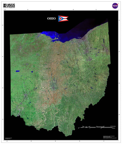 Ohio Satellite Imagery State Map Poster - TerraPrints.com