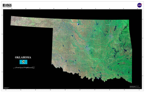 Oklahoma Satellite Imagery State Map Poster by TerraPrints.com. Available in multiple sizes with free shipping in the USA.