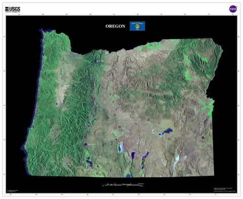 Oregon Satellite Imagery State Map Poster - TerraPrints.com