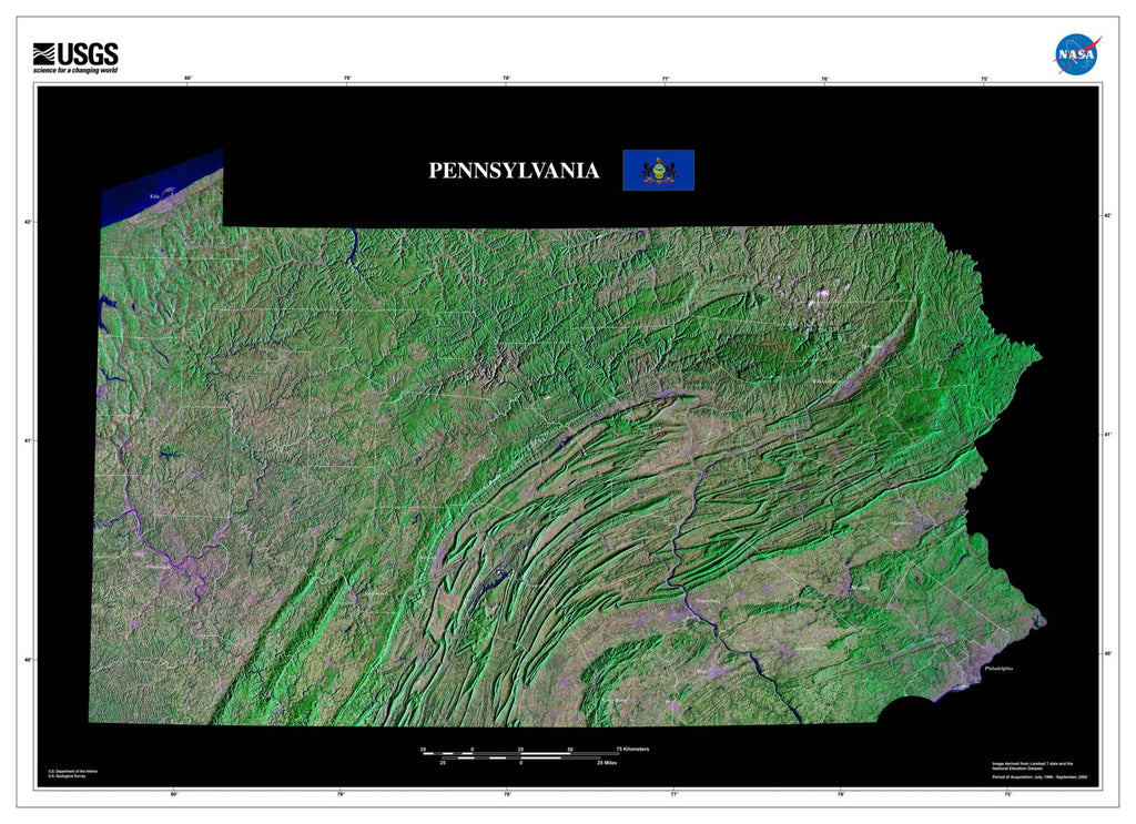 Pennsylvania From Space Satellite Poster Map - TerraPrints.com