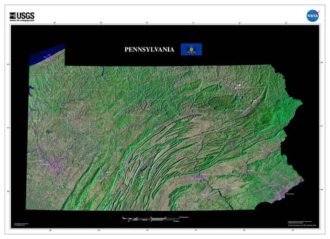 Pennsylvania Satellite Imagery State Map Poster - TerraPrints.com