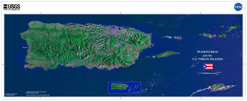 Puerto Rico and the US Virgin Islands Satellite Poster Map - TerraPrints.com
