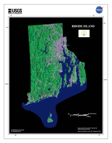 Rhode Island From Space Satellite Poster Map - TerraPrints.com