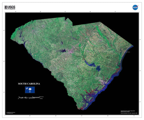 South Carolina From Space Satellite Poster Map by TerraPrints.com. Available in multiple sizes with free shipping in the USA.