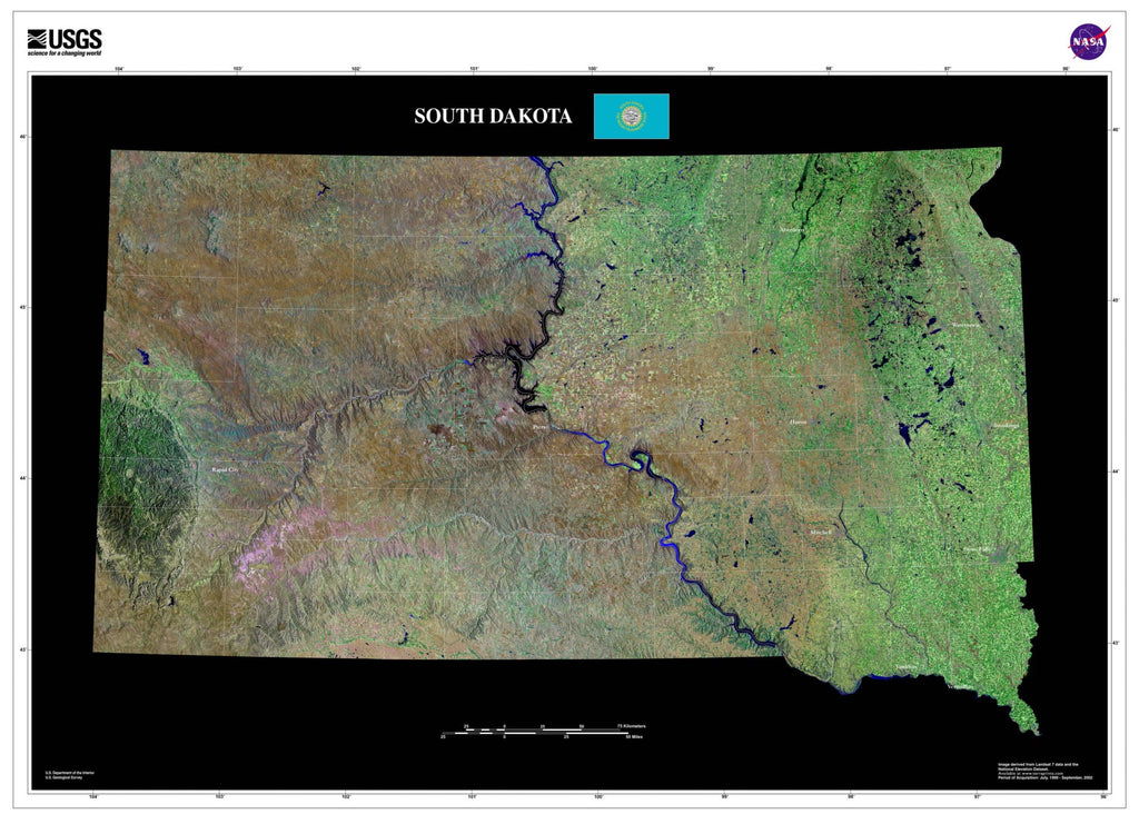 South Dakota Satellite Poster Map — aerial views, from ...