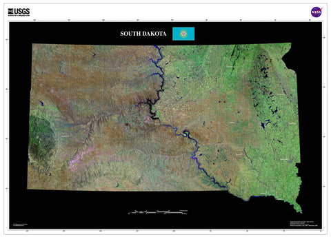 South Dakota From Space Satellite Poster Map by TerraPrints.com. Available in multiple sizes with free shipping in the USA.