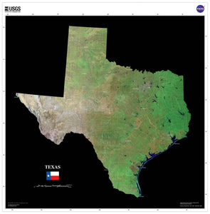 Texas Satellite Imagery State Map Poster - TerraPrints.com