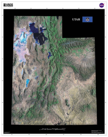 Utah Satellite Imagery State Map Poster - TerraPrints.com