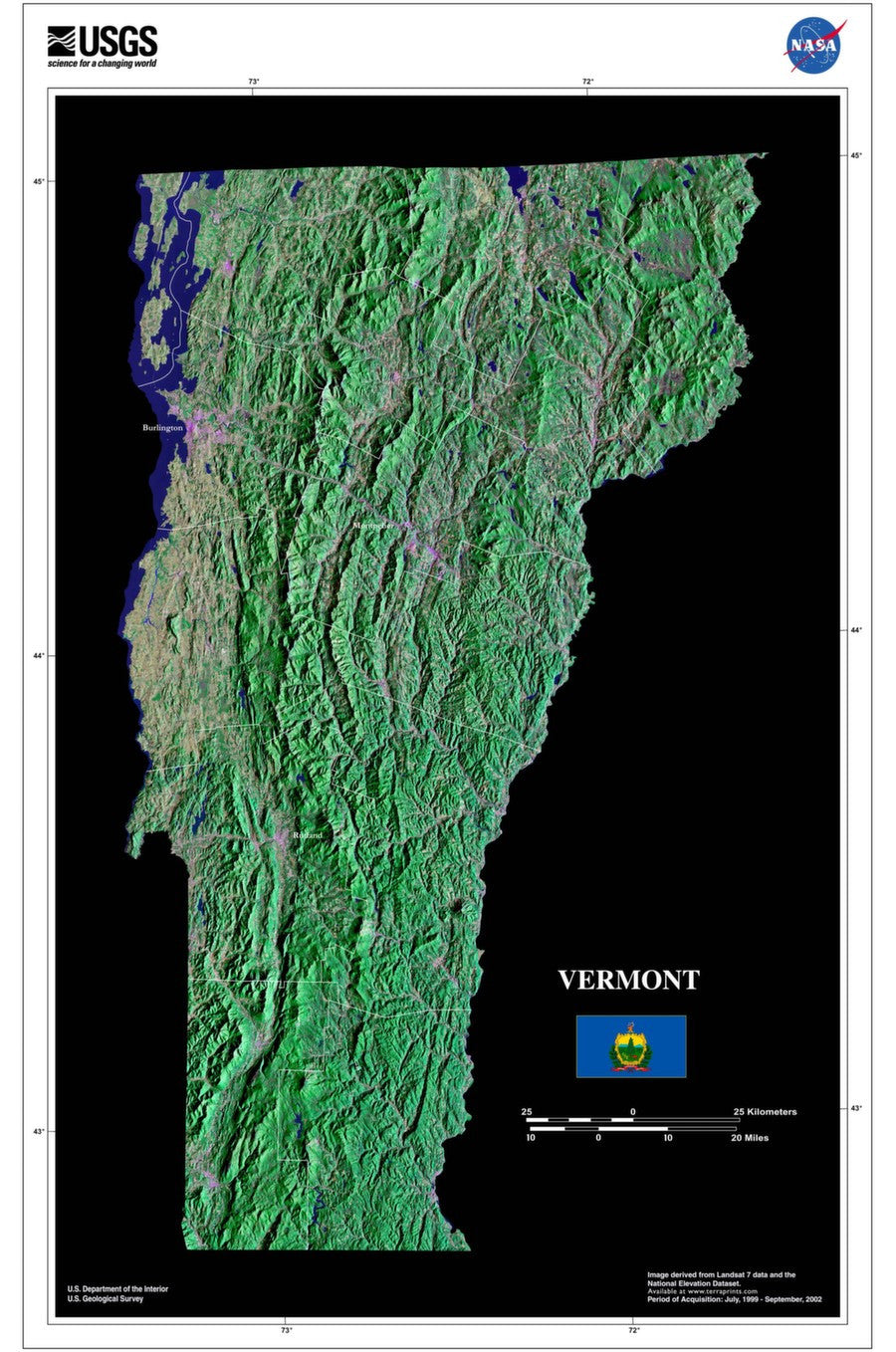 Vermont Satellite Imagery State Map Poster by TerraPrints.com. Available in multiple sizes with free shipping in the USA.