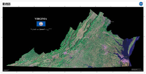 Virginia Satellite Imagery State Map Poster by TerraPrints.com. Available in multiple sizes with free shipping in the USA.