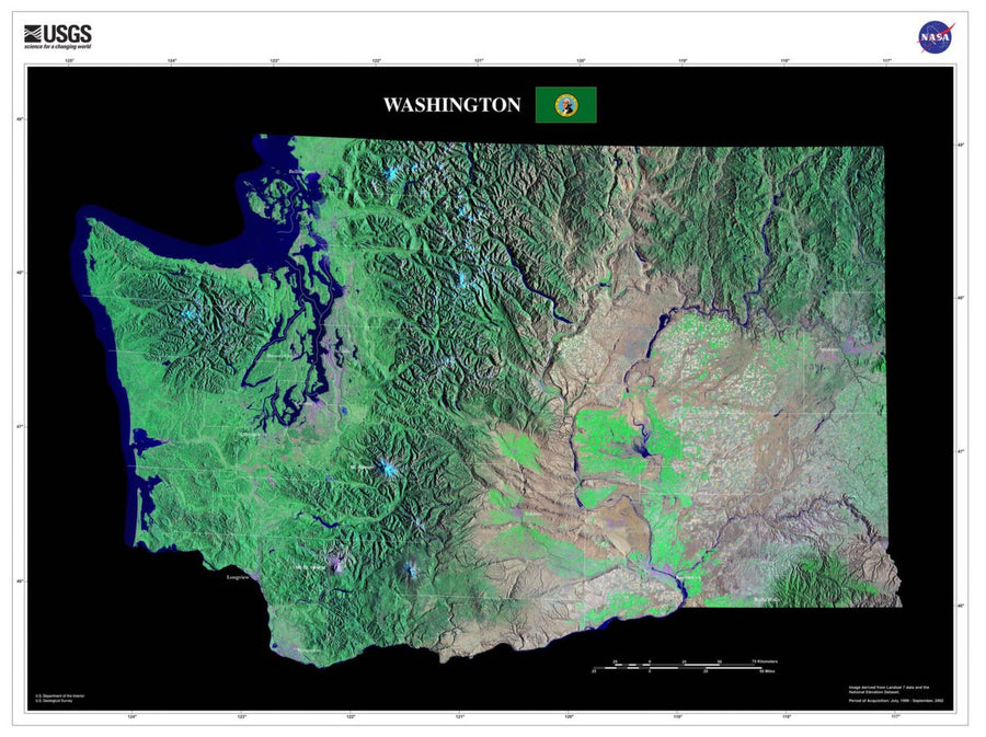Washington Satellite Imagery State Map Poster - TerraPrints.com