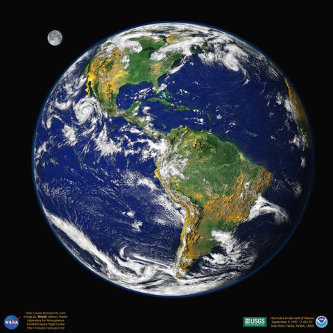 Earth - Western Hemisphere Satellite Poster Map - TerraPrints.com