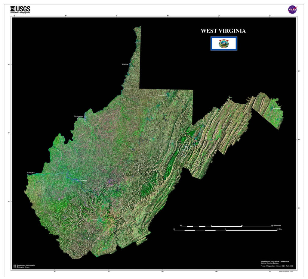 West Virginia From Space Satellite Poster Map by TerraPrints.com. Available in multiple sizes with free shipping in the USA.