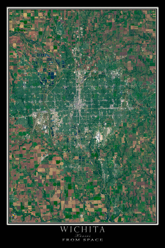Wichita Kansas Satellite Poster Map - TerraPrints.com