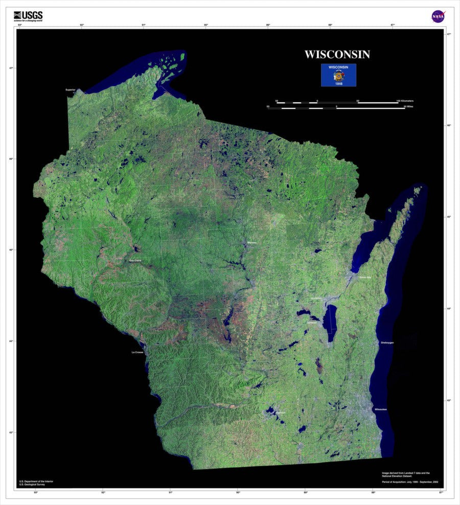 Wisconsin Satellite Imagery State Map Poster by TerraPrints.com. Available in multiple sizes with free shipping in the USA.