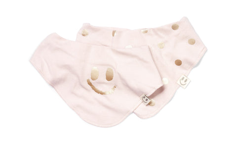 Bolivia bib (2 pack) Golden Rose/Dusty Rose - HAPPY little FACE