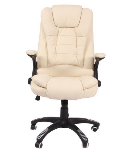 Kidzmotion Cream Leather High Back Reclining Office Chair