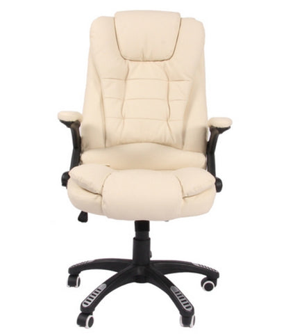 Kidzmotion cream leather high back reclining office chair with massage and heat