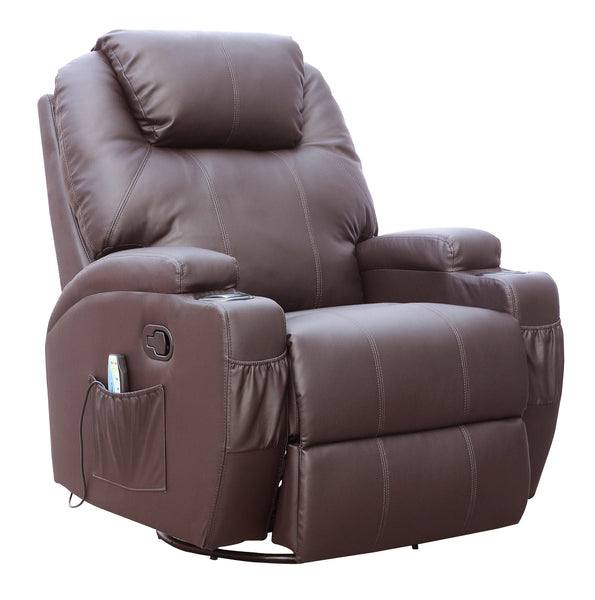 Dfs Red Leather Swivel Chair: Kidzmotion Brown Leather Recliner Gaming Chair