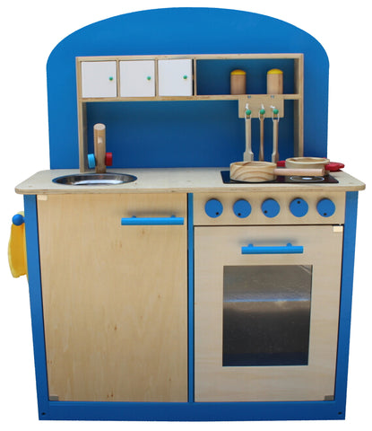Blue Wooden Play Kitchen kidzmotion la cuisine parfaite wooden pretend play kitchen unisex blue