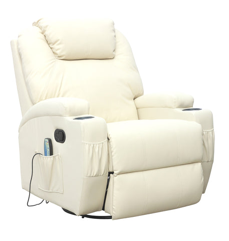 Kidzmotion Cream Leather Recliner Gaming Chair - rocking, swivel, massage & heat