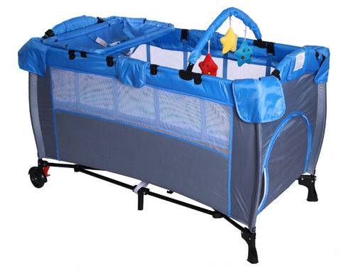 Kidzmotion Portable Baby Child Travel Cot Bed Bassinet Play Pen Playpen (blue)
