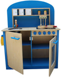 Kidzmotion La Cuisine Parfaite Wooden Pretend Play Kitchen Unisex Blue