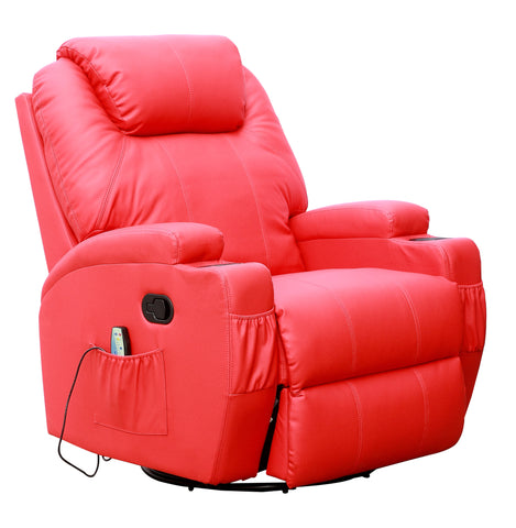 Kidzmotion Red Leather Recliner Gaming Chair - rocking, swivel, massage & heat