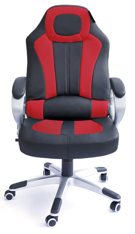 Kidzmotion Racing Gaming high back reclining office chair with massage and heat - red