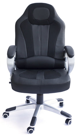 Kidzmotion Racing Gaming high back reclining office chair with massage and heat - black