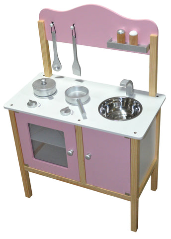 kidzmotion la mini cuisine wooden pretend play kitchen pink - Play Kitchen