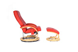 Kidzmotion Red Leather Reclining Swivel Leisure Chair - massage/heat (round base)