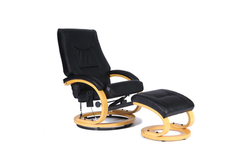 Kidzmotion Black Leather Reclining Swivel Leisure Chair - massage/heat (round base)