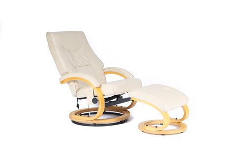 Kidzmotion Cream Leather Reclining Swivel Leisure Chair - massage/heat (round base)
