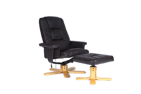 Kidzmotion Brown Leather Reclining Swivel Leisure Chair - massage/heat (star base)