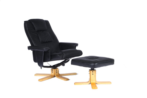 Kidzmotion Black Leather Reclining Swivel Leisure Chair - massage/heat (star base)