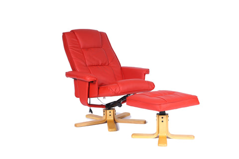 Kidzmotion Red Leather Reclining Swivel Leisure Chair - massage/heat (star base)