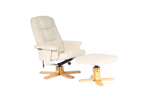 Kidzmotion Cream Leather Reclining Swivel Leisure Chair - massage/heat (star base)