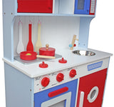 Kidzmotion La Gourmet Cuisine Wooden Pretend Play Kitchen Unisex Red white blue