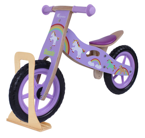 Kidzmotion 'Dazzle' Wooden Balance Bike / first bike / running bike with wooden stand