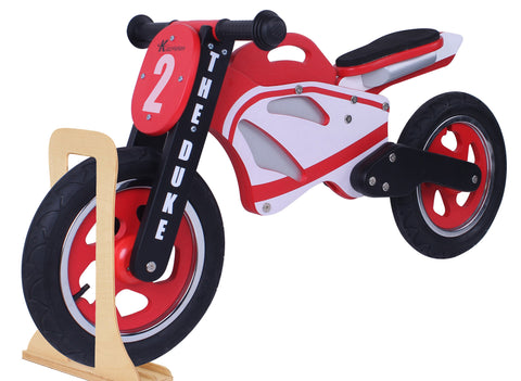 Kidzmotion 'The Duke' Wooden Motorbike Balance Bike with stand