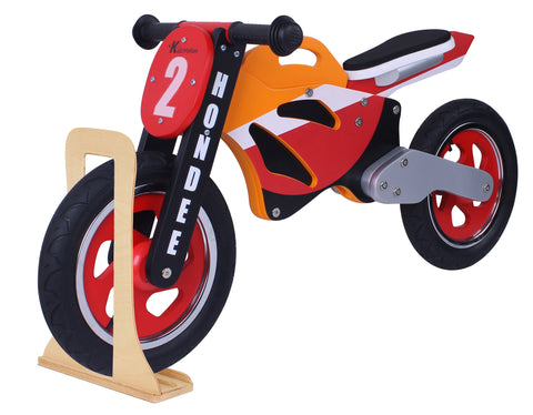 Kidzmotion 'Hondee' Wooden Motorbike Balance Bike with stand