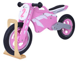 Kidzmotion 'Zippy' Wooden Motorbike Balance Bike with wooden stand