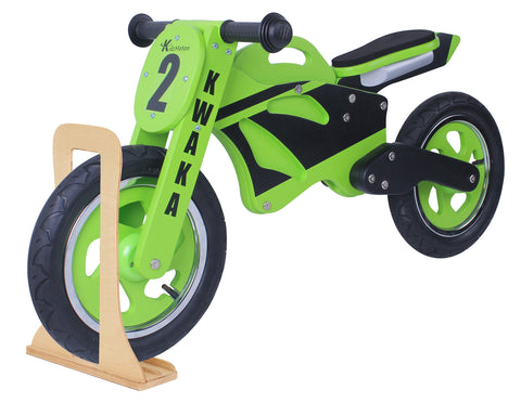 Kidzmotion 'Kwaka' Wooden Motorbike Balance Bike with stand