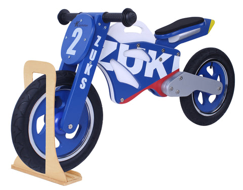Kidzmotion 'Zuks' Wooden Motorbike Balance Bike with stand