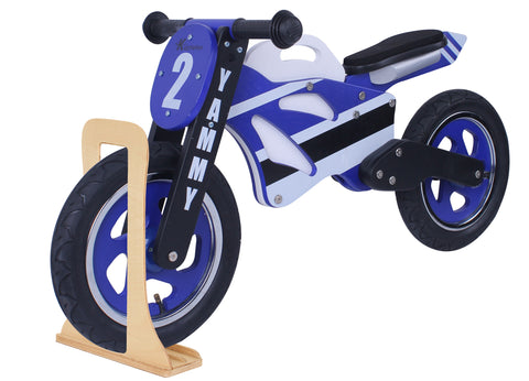 Kidzmotion 'Yammy' Wooden Motorbike Balance Bike with stand