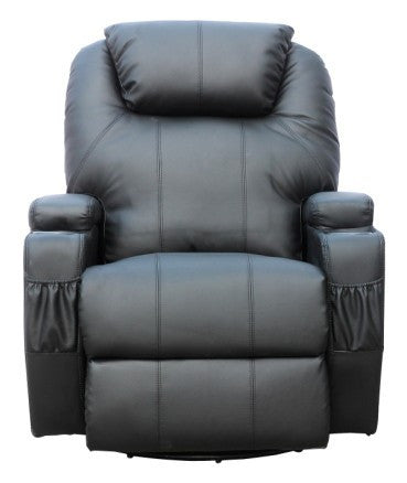 Kidzmotion Black Leather Recliner Gaming Chair - rocking, swivel, massage & heat