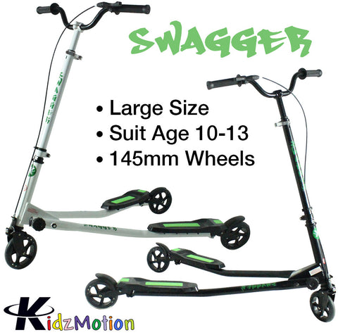 Kidzmotion Swagger 3 wheel swing scooter speeder drifter large (10-13yr) black frame