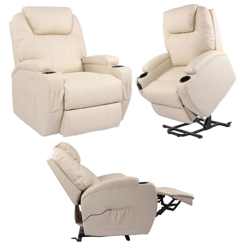 Kidzmotion Cream Leather Recliner Gaming Chair - electric lift and recline